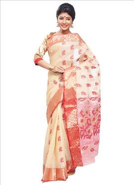 beautiful-beige-tussar-silk-saree