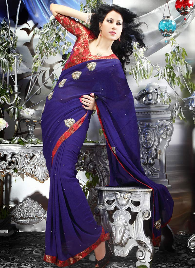 Zardosi-And-Kundan-Motif-Georgette-Saree