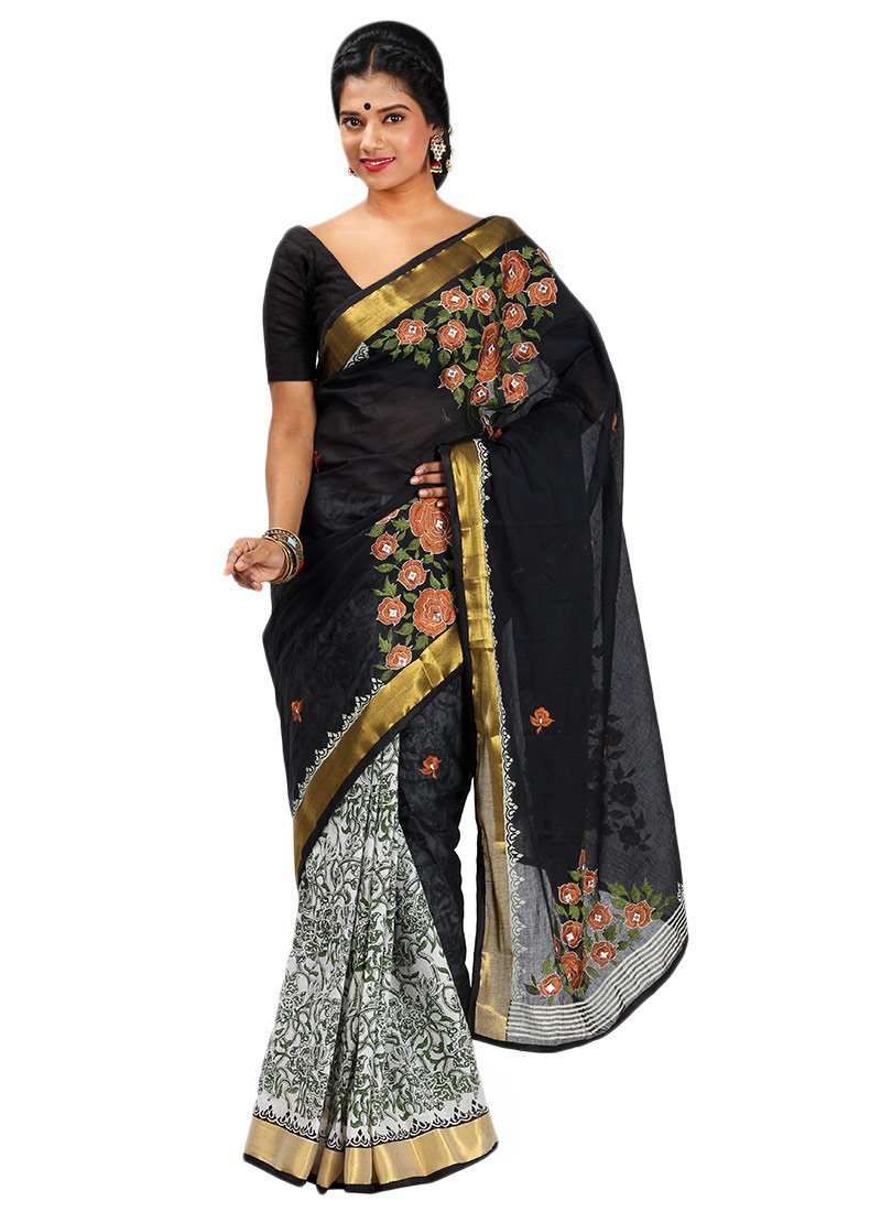 Block-Print-N-Embroidered-Half-N-Half-Saree