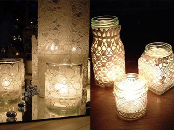 Lace jar candle