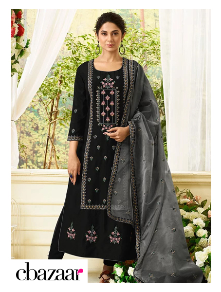 black embroidered Straight Pant Set