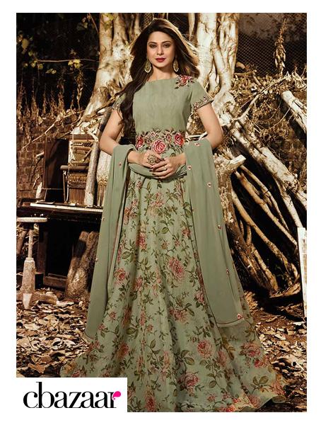 Green organza Anarkali Suit