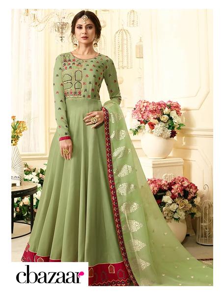 elegant light green Anarkali Suit