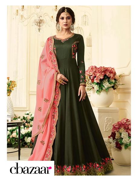 Green embroidered Anarkali Suits