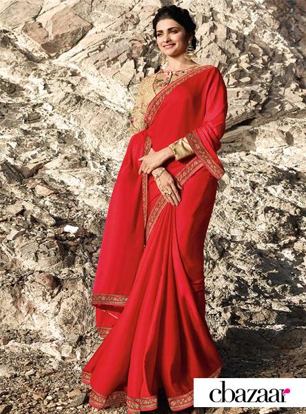 Prachi Desai Red Embroidered Saree