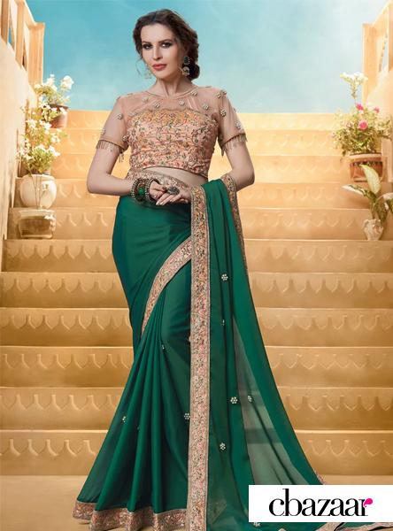 dark-green-embroidered-saree