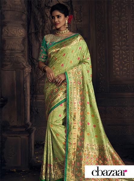 Green Art Benarasi Saree