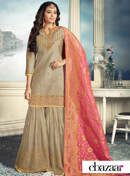 Yellow and Green Sharara Suit