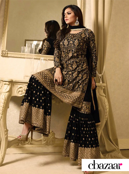 Beige georgette sharara suit