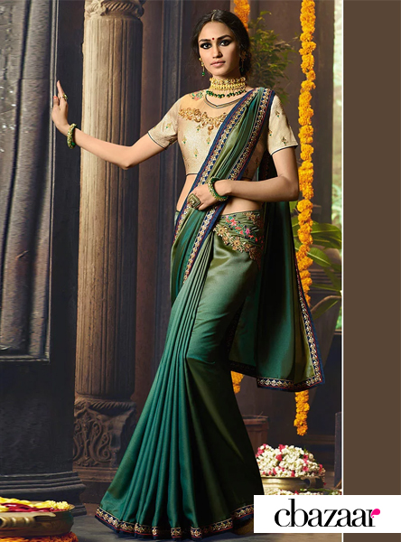 green-embroidered saree