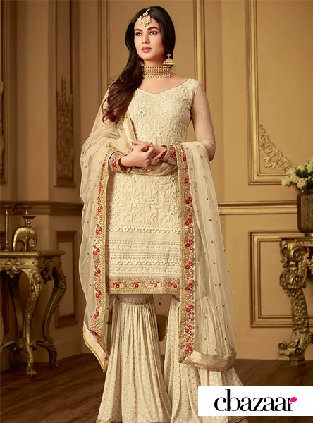 Cream Sharara Suit