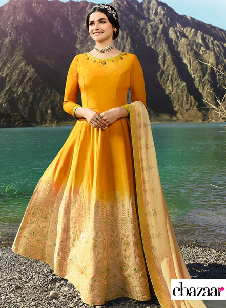 Yellow art silk Anarkali