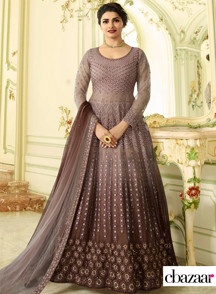 Brown ombre net Anarkali suit