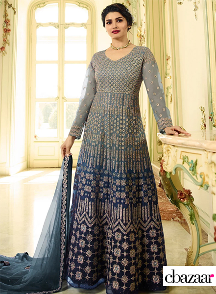 Blue ombre embroidered Anarkali suit