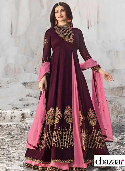 Purple layered Anarkali suit