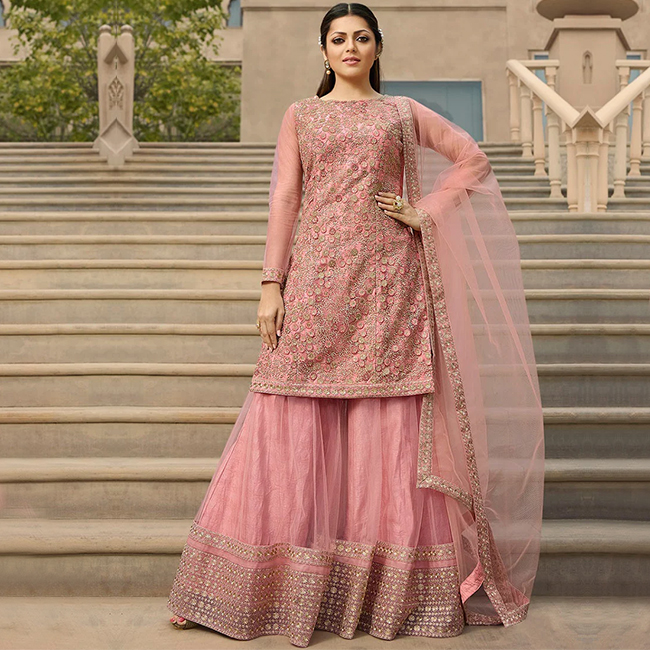 pastel pink Palazzo suit