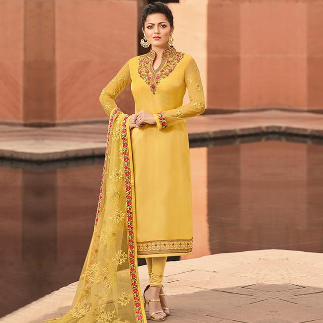 mellow yellow Churidar Suit