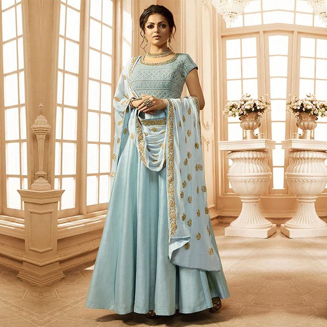 Sky Blue Anarkali Suit