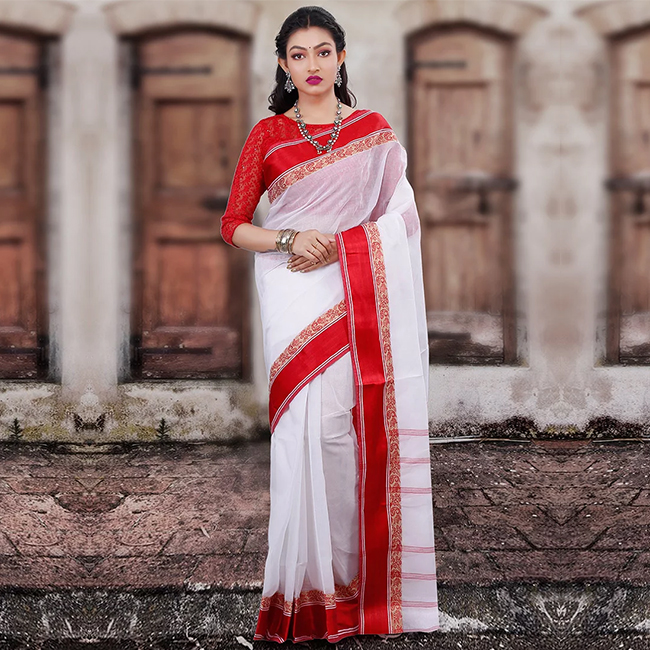 White Tangail Cotton Saree