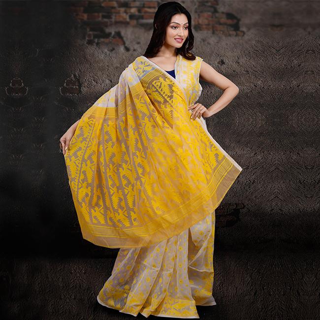 Cream Jamdani Cotton Saree