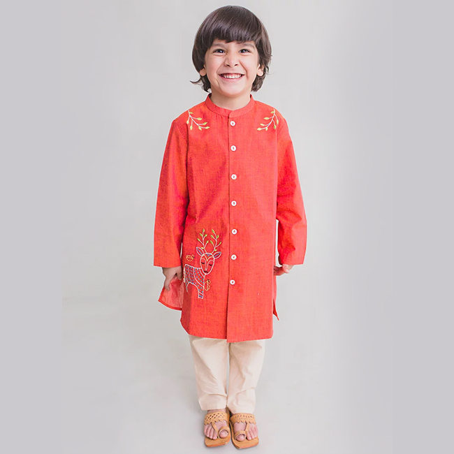 peach embroidered kurta pajamas