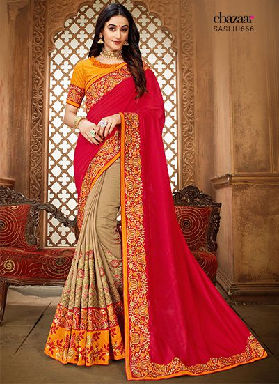 Half and half sarees in Red