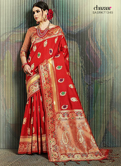Red Jacquard sarees