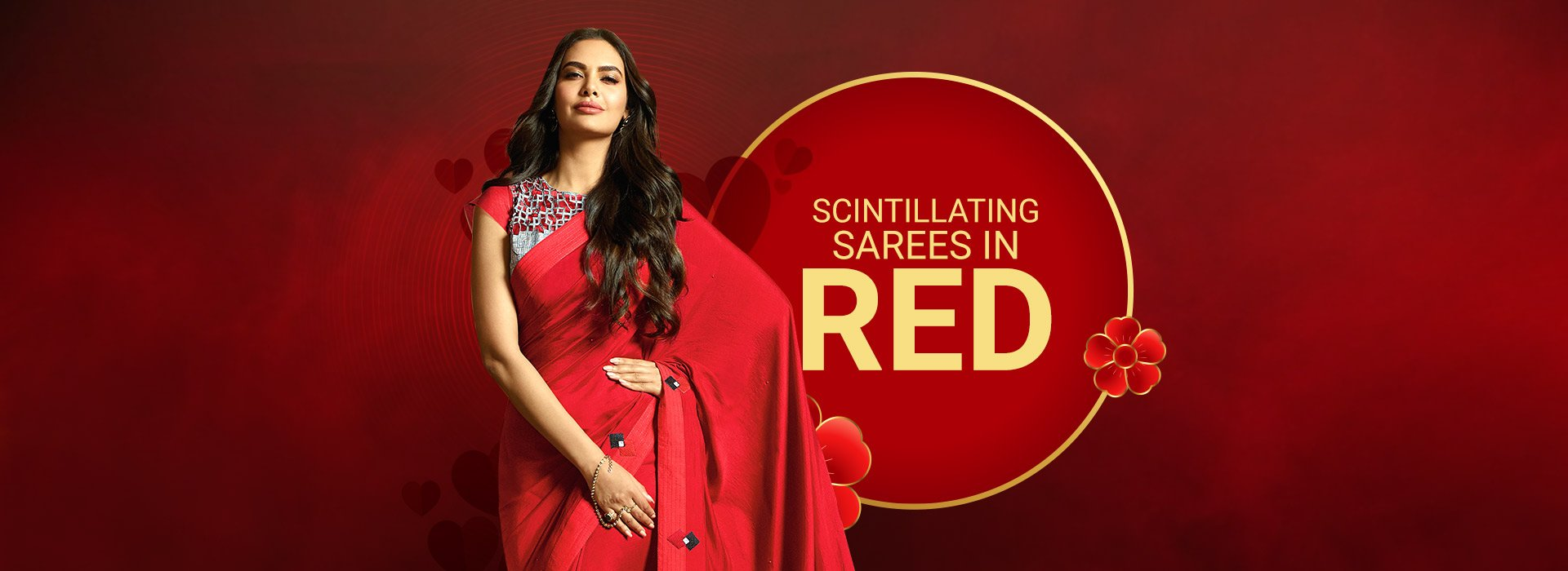 Scintillating Sarees In Red