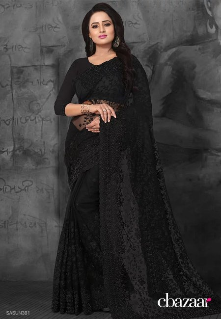 Black Net Saree