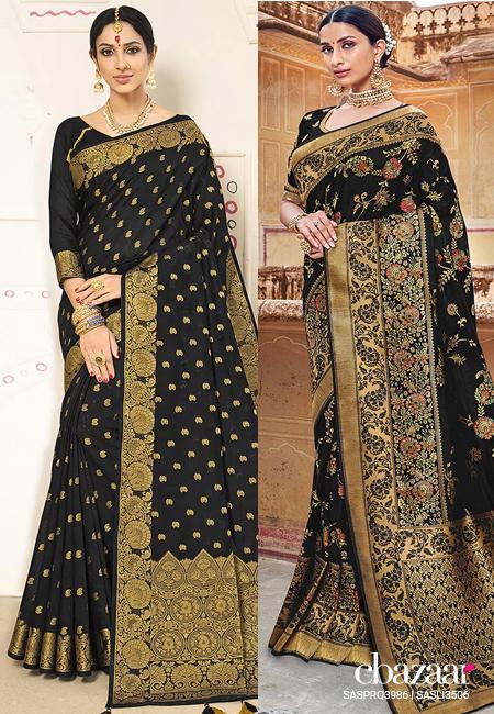 Black saree for the wedding