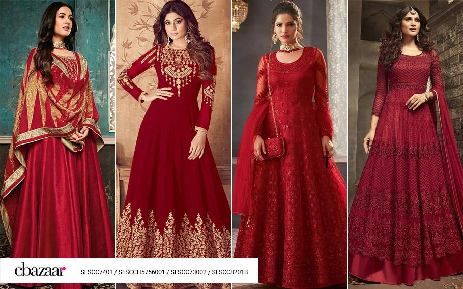 Charming Crimson Anarkali suits