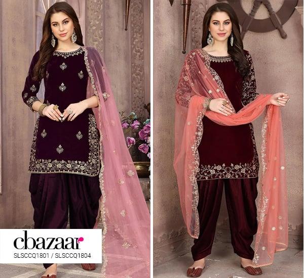 Alluring Velvet Patiala suit