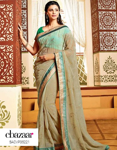 Chiffon Saree With Shimmer Patch Border